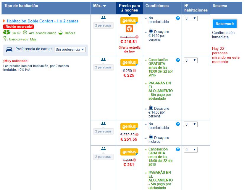 booking seleccion de habitaciones -Los viajes de margalliver